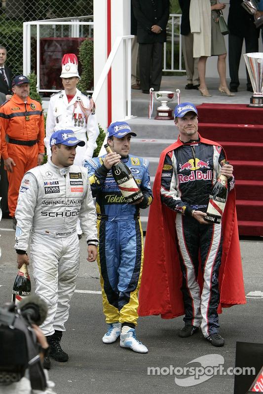 Juan Pablo Montoya, Fernando Alonso y David Coulthard