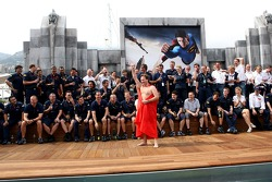 The team of Red Bull Racing and sporting director Christian Horner in a Superman cape on the deck of