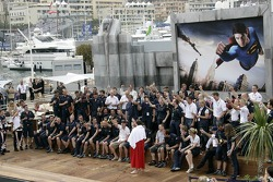 Sporting director Christian Horner and the team of Red Bull Racing celebrate the first podium