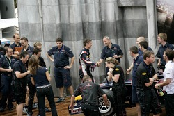 David Coulthard and the team of Red Bull Racing celebrate the first podium