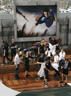 The team of Red Bull Racing celebrate the first podium