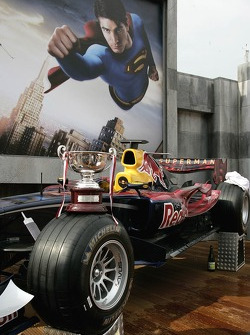 The trophy of David Coulthard on his car