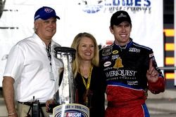 Victory lane: Carl Edwards poses with his Mom and StepRace actiondad