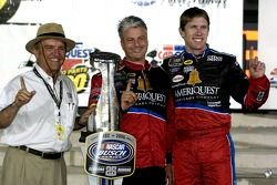 Victory lane: Carl Edwards, Jack Roush and Pierre Kuettel