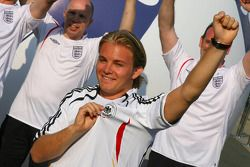 Nico Rosberg gets into the World Cup spirit