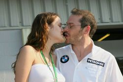 Jacques Villeneuve with his new wife Johanna