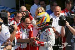 Lewis Hamilton race winner celebrates