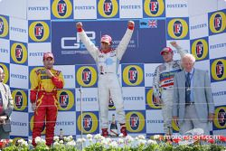 Podium: Race winner Lewis Hamilton, second place, Timo Glock, third place, Adam Carroll