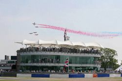 Royal Air Force jets fly over the circuit