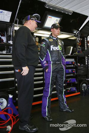 Crew chief Mike Ford speaks with Denny Hamlin