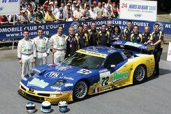 Luc Alphand, Jérôme Policand, Patrice Goueslard and Luc Alphand Aventures team members pose with the Luc Alphand Aventures Corvette C5-R