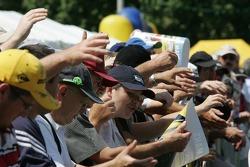 Fans watch scrutineering action