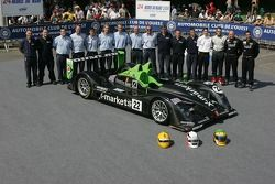 Martin Short, Joao Barbosa, Stuart Moseley and the Rollcentre Racing Team pose with the Rollcentre Racing Radical SR9 Judd