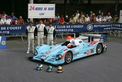 Claude-Yves Gosselin, Karim Ojjeh, et Adam Sharpe avec la Paul Belmondo Racing Courage C65 Ford