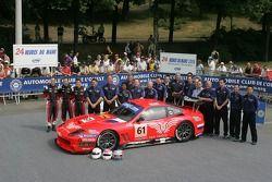 Christian Vann, Nigel Smith, Tim Sugden, and the Cirtek Motorsport Team pose with the Cirtek Motorsport Ferrari 550 Maranello