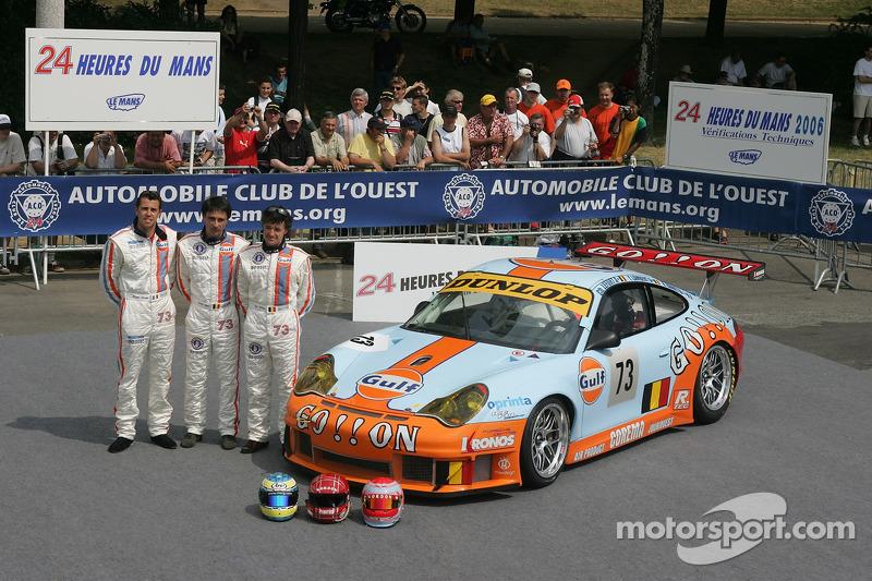 Yves Lambert, Christian Lefort, et Romain Iannetta avec la  Ice Pol Racing Team Porsche GT3 RSR