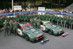 Tomas Enge, Andrea Piccini, Darren Turner, Pedro Lamy, Stéphane Sarrazin, Stéphane Ortelli, and the Aston Martin Racing Team pose with the Aston Martin Racing Aston Martin DBR9