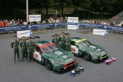 Tomas Enge, Andrea Piccini, Darren Turner, Pedro Lamy, Stéphane Sarrazin, and Stéphane Ortelli pose with the Aston Martin Racing Aston Martin DBR9