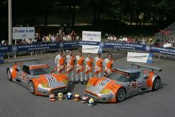 Tom Coronel, Donny Crevels, Peter Dumbreck, Jeroen Bleekemolen, Mike Hezemans, and Jonny Kane pose with the Spyker Squadron Spyker C-8 Spyder