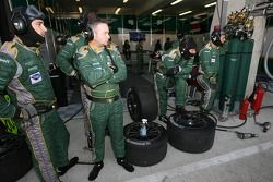 Aston Martin Racing team members ready for a pitstop practice