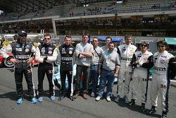 Les pilotes de l'équipe Paul Belmondo Racing: Claude-Yves Gosselin, Karim Ojjeh, Adam Sharpe, Didier André, Yann Clairay, Jean-Bernard Bouvet