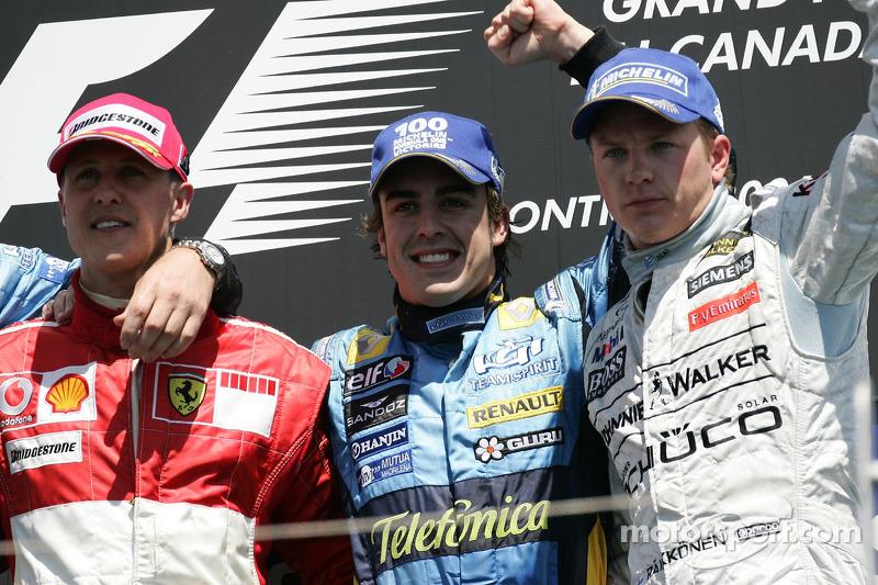 Podio: il vincitore Fernando Alonso, con Michael Schumacher e Kimi Raikkonen