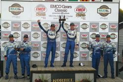 GT podium: class winners Robin Liddell and Wolf Henzler, with second place Paul Edwards and Kelly Co