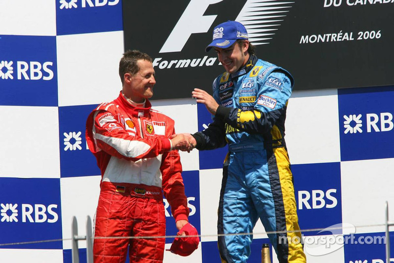 Podyum: Yarış galibi Fernando Alonso ve Michael Schumacher