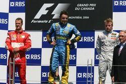 Podium: Sieger Fernando Alonso, 2. Michael Schumacher, 3. Kimi Räikkönen