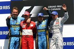 Podium: race winner Fernando Alonso with Michael Schumacher, Kimi Raikkonen and Steve Nielson