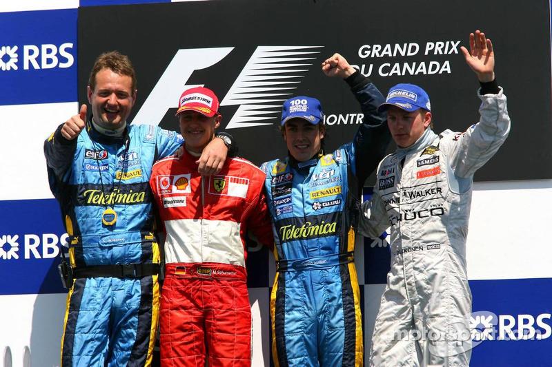 Podium: race winner Fernando Alonso with Michael Schumacher, Kimi Raikkonen and Steve Nielson