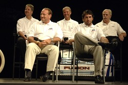 Ken Schrader, Elliott Sadler, Robert Yates and Eddie and Len Wood take part in an employee pep rally
