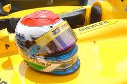 Phil Giebler's helmet after 39 laps at Indy