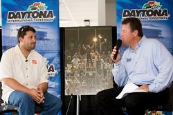 Tony Stewart talks with the media during a session moderated by Daytona International Speedway Presi