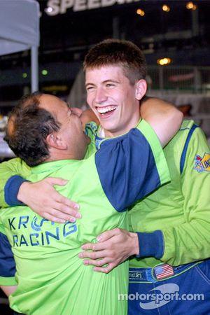 Colin Braun celebrates victory with a Krohn Racing team member