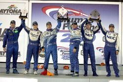 GT podium: class winners Marc Bunting and Andy Lally, with second place Robin Liddell and Wolf Henzler, and third place Eric Lux and Charles Espenlaub
