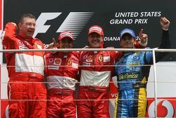 Podium: Sieger Michael Schumacher, 2. Felipe Massa, 3. Giancarlo Fisichella