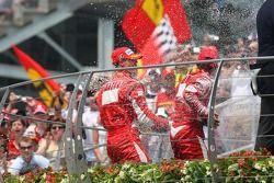 Podium: champagne for Michael Schumacher, Felipe Massa and Giancarlo Fisichella