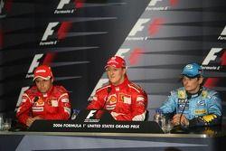 FIA press conference: race winner Michael Schumacher with Felipe Massa and Giancarlo Fisichella