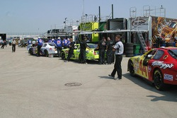 Teams wait in line for tech inspection