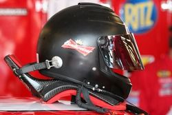 Dale Earnhardt Jr.'s HANS device is connected to his helmet