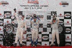 Podium: race winner Robbie Pecorari with Jonathan Bomarito and Ryan Lewis