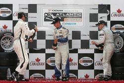 Podium: champagne for Robbie Pecorari, Jonathan Bomarito and Ryan Lewis