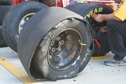Elliott Sadler's shredded tire