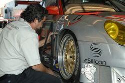 Flying Lizard Motorsports technician at work