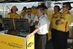 Penske Motorsports team members monitor the qualifying action
