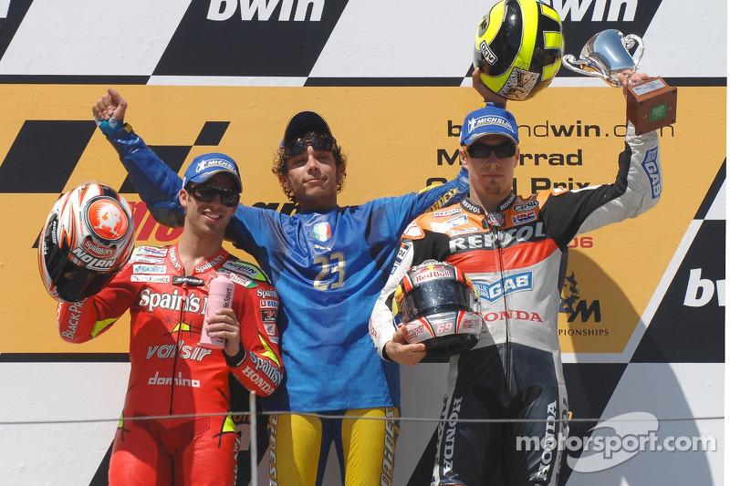 2006: 1. Valentino Rossi, 2. Marco Melandri, 3. Nicky Hayden