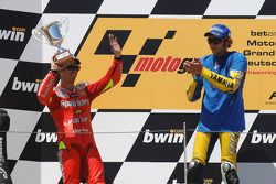 Podium: race winner Valentino Rossi with Marco Melandri