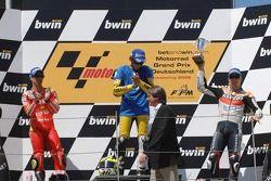 Podium: race winner Valentino Rossi with Marco Melandri and Nicky Hayden