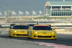 #3 Corvette Racing Corvette C6-R: Ron Fellows, Johnny O'Connell and #4 Corvette Racing Corvette C6-R